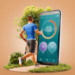 Man running with phone app for fitness.